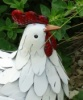 Little White Hen Metal Garden Figure