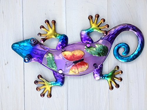 Bright Multi Coloured Metal & Glass Gecko/Lizard Wall Decor (Purple)