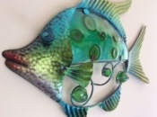 Green and Blue Tropical Reef Fish - Metal with Glass Detailing