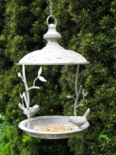 Hanging Bird Feeder - Antique Grey Metal