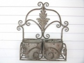 Metal Wall Planter - Antique Grey Finish