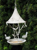Small Metal Bird Feeder - Distressed Paint Effect