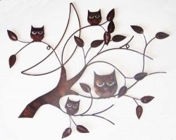 4 Owls in a tree wall decor Brown
