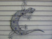 Lizard - Delicate Grey Metal with Scroll Design
