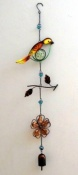 Bird & Flower Metal and Glass Hanging Decoration