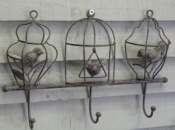Wrought-Metal Birdcage Hook Trio