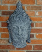 Grey Stone Effect Buddha Head Wall Decor