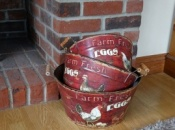 Set of 3 Decorated Metal Tubs