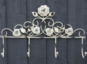 Antique-Style Cream Metal Flower Hooks