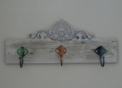 Three Hooks on Ornate Wooden Baton