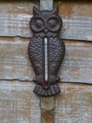 Cast Iron Owl Wall Thermometer