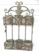 Two-Tier Metal Wall Planter - Antique Grey Finish